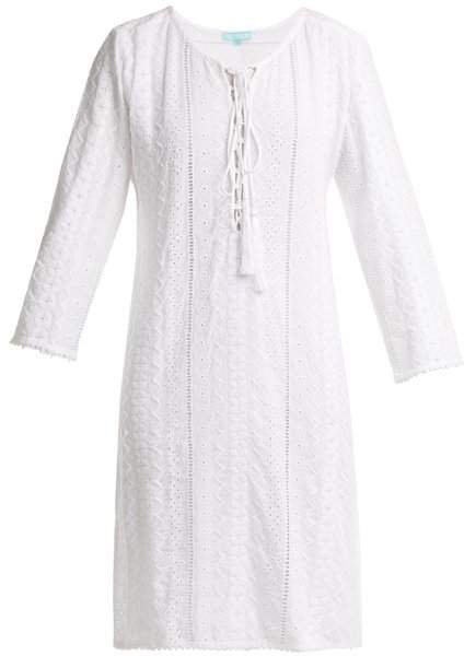 Bella Lace Up Broderie Anglaise Dress - Womens - White