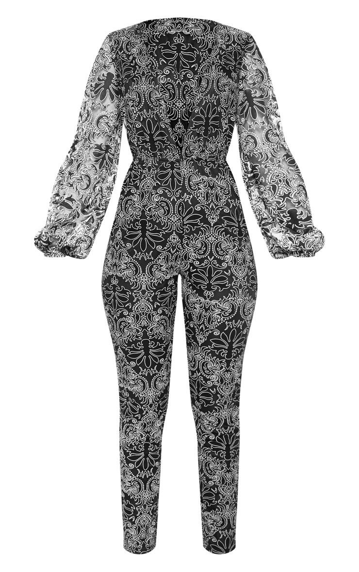 Black Sheer Paisley Long Sleeve Jumpsuit   PrettyLittleThing USA