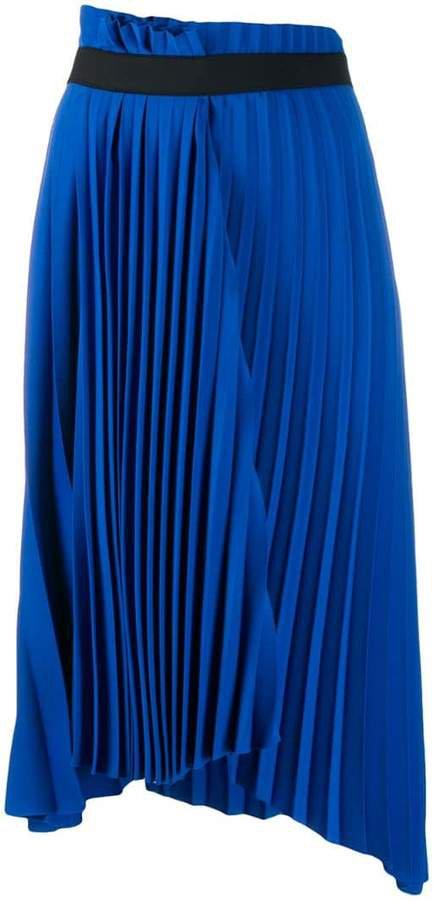 pleated asymmetric skirt