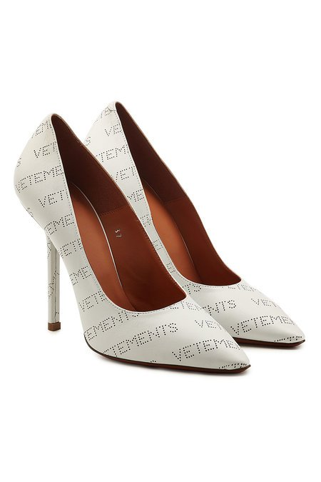 Vetements - Perforated Logo Leather Pumps - white