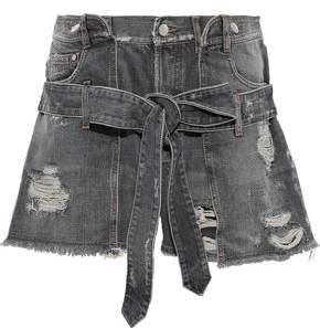 Layered Distressed Denim Shorts