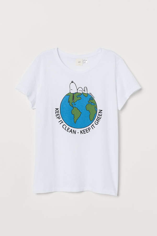 T-shirt with Motif - White