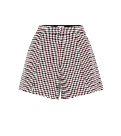 Checked stretch-wool shorts