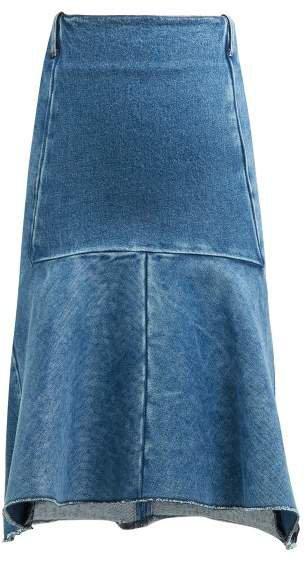 Fluted Denim Midi Skirt - Womens - Denim