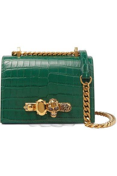 Alexander McQueen | Jewelled Satchel small embellished croc-effect leather shoulder bag | NET-A-PORTER.COM