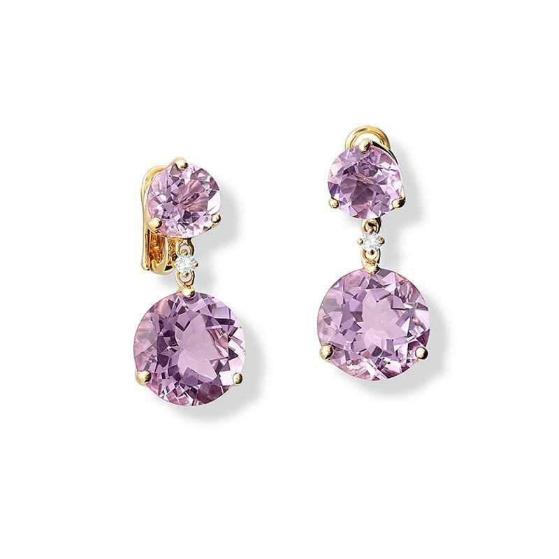 Riviere Double Light Purple Amethyst and Diamond Yellow Gold Earrings