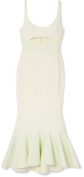 Cutout Stretch-crepe Midi Dress - White