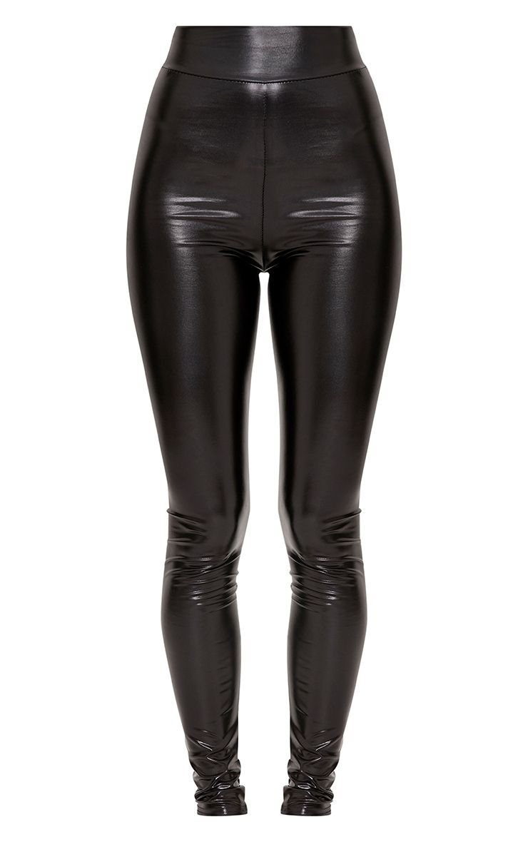 Tiana Black Ultra Wet Look Leggings - Trousers   PrettyLittleThing USA