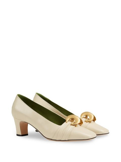 Gucci Leather mid-heel pump with half moon GG $890 - Buy SS19 Online - Fast Global Delivery, Price