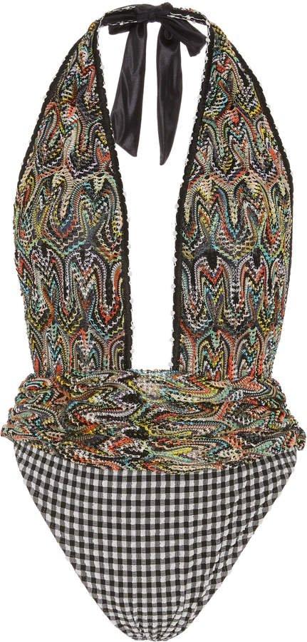 Mare Seersucker-Paneled Crochet-Knit Halterneck Swimsuit