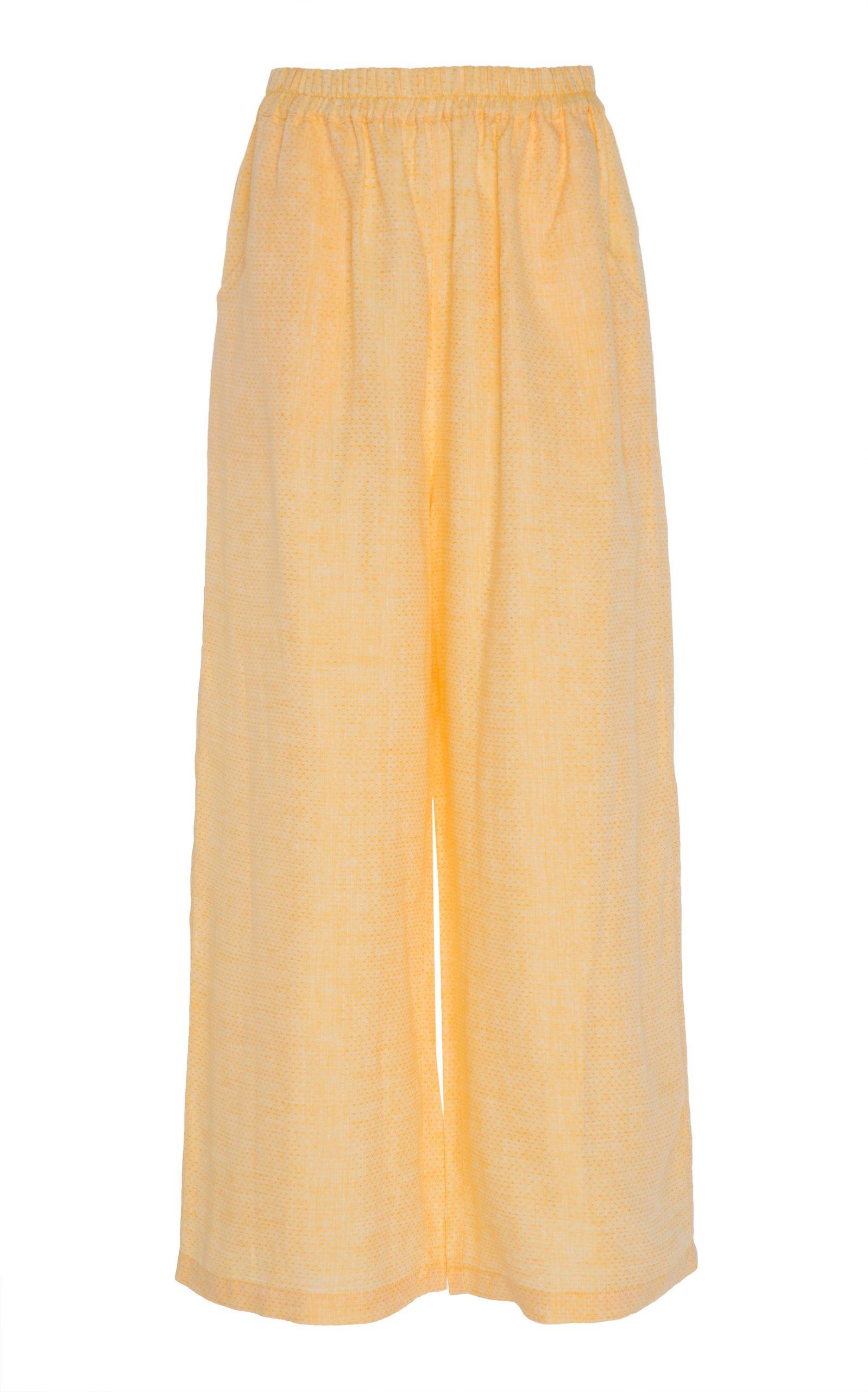 Gül Hürgel Cropped Linen Wide-Leg Pants Size: M