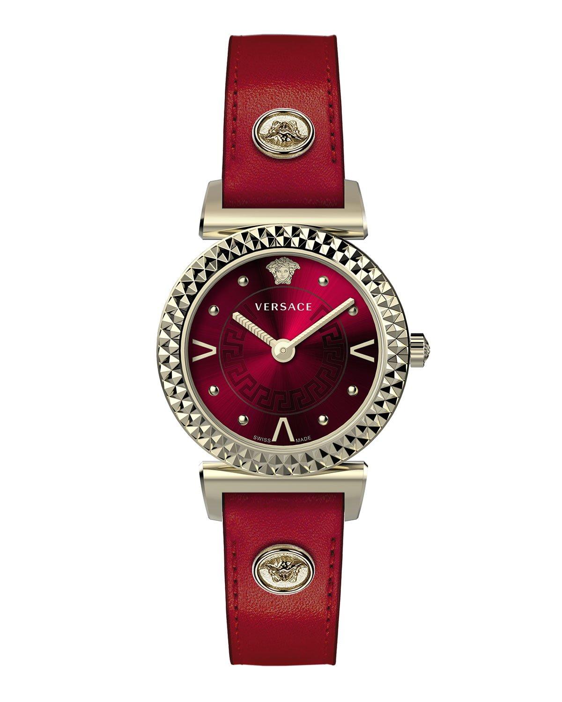 Versace Mini Vanity Watch w/ Leather Strap