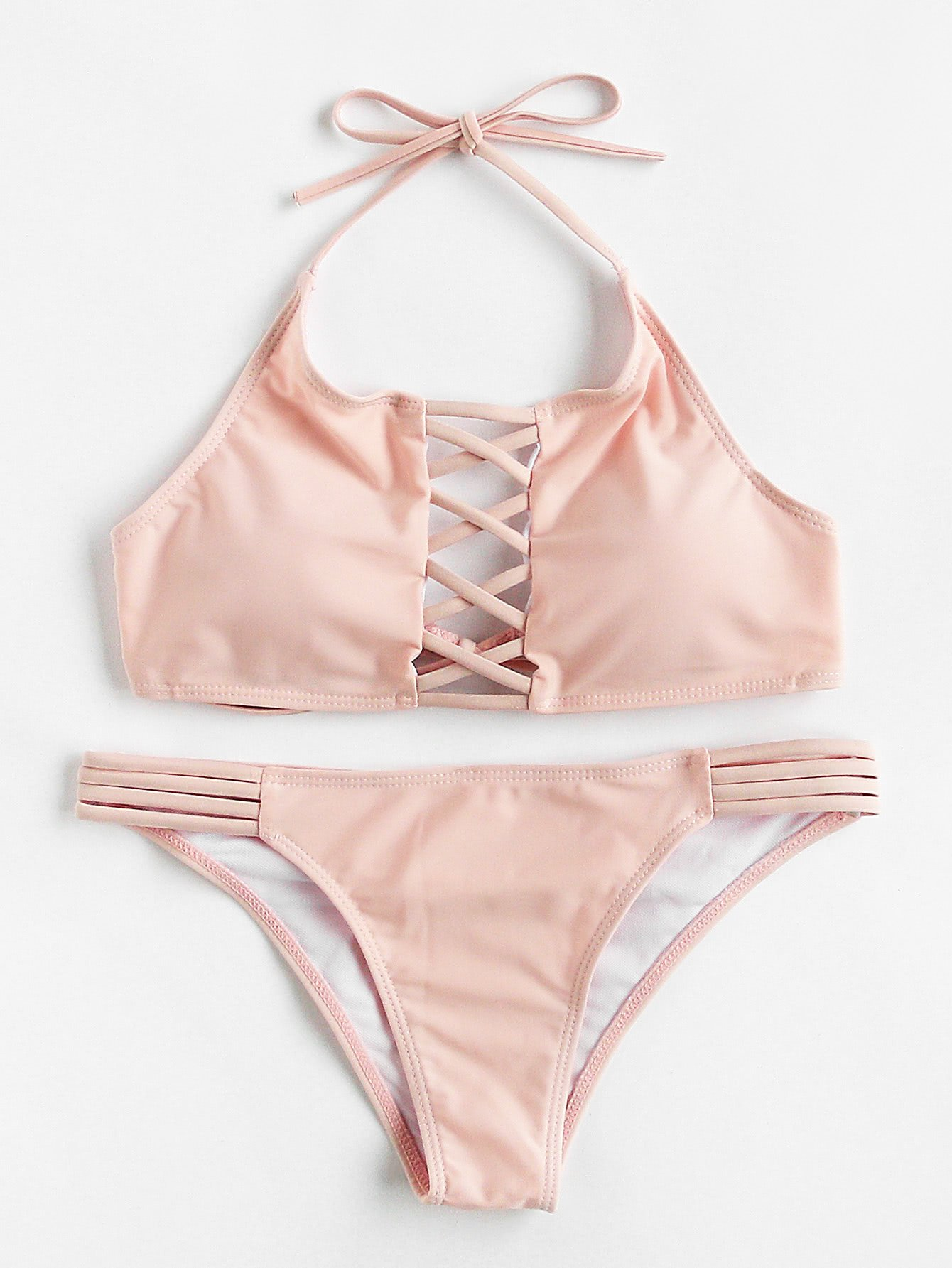 Criss Cross Ladder Cutout Halter Bikini Set