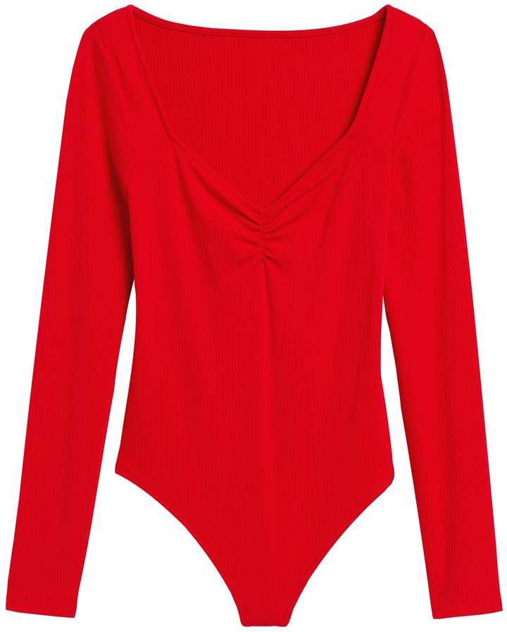 Ribbed Sweetheart Thong Bodysuit
