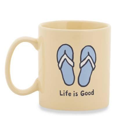 Life is Good Flip Flops Jake's Mug in Happy Yellow | The Paper Store