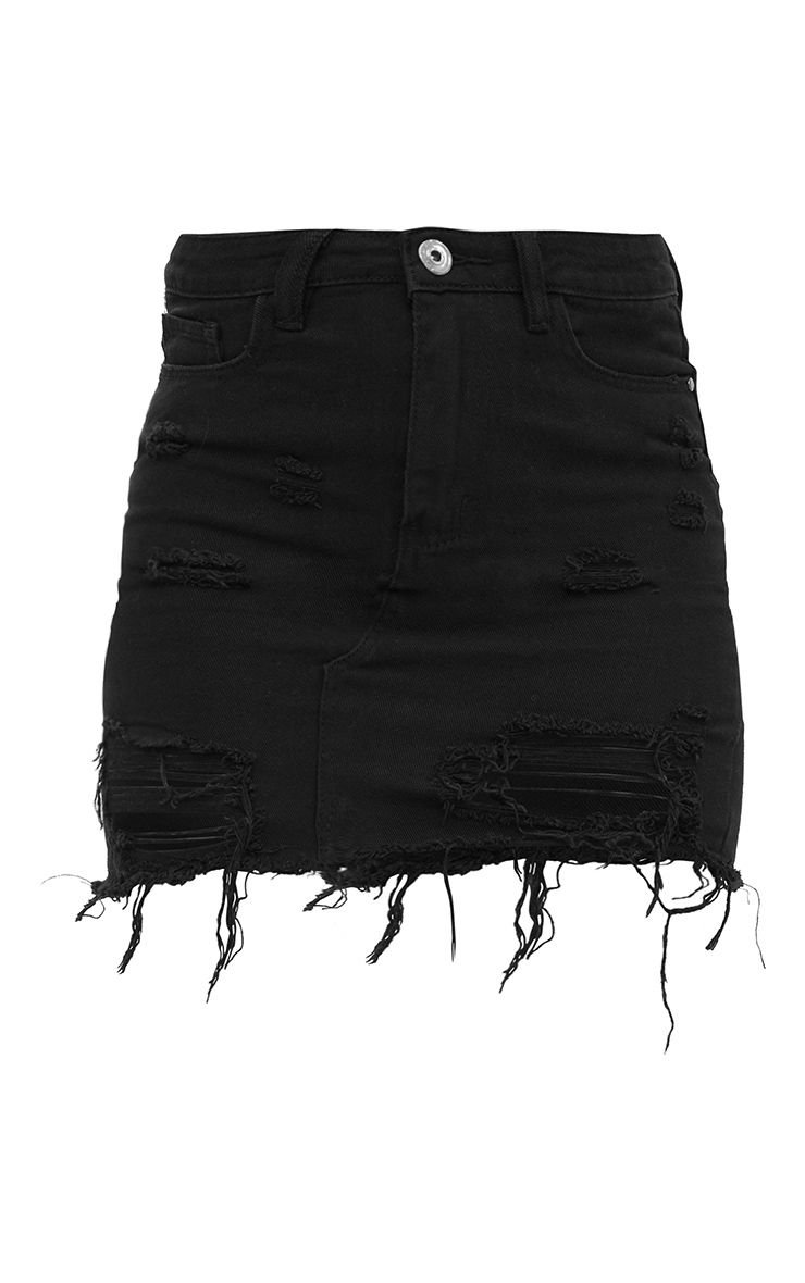Khaki Distressed Rip Denim Mini Skirt | Denim | PrettyLittleThing USA