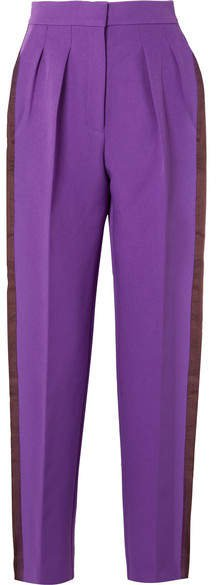 Ricciarini Pleated Satin-trimmed Crepe Tapered Pants - Purple
