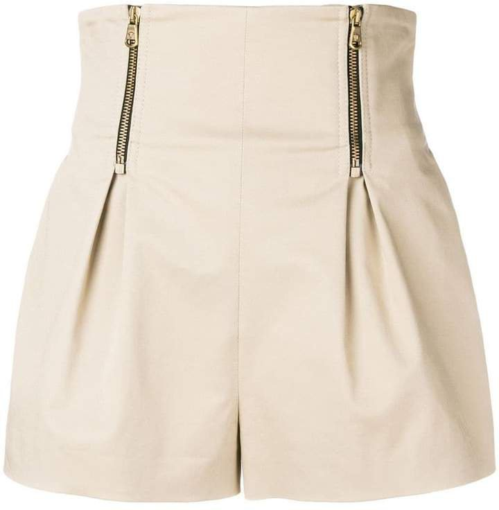 High waisted zip shorts