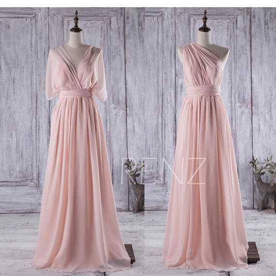 Peach Convertible Chiffon Bridesmaid DressLong Multiway