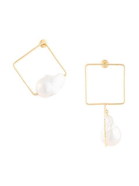 Roksanda pearl-embellished Square Earrings - Farfetch