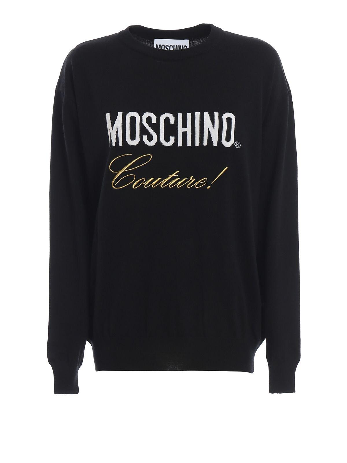 Moschino Logo Intarsia Black Wool Sweater