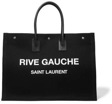Noe Leather-trimmed Printed Canvas Tote - Black