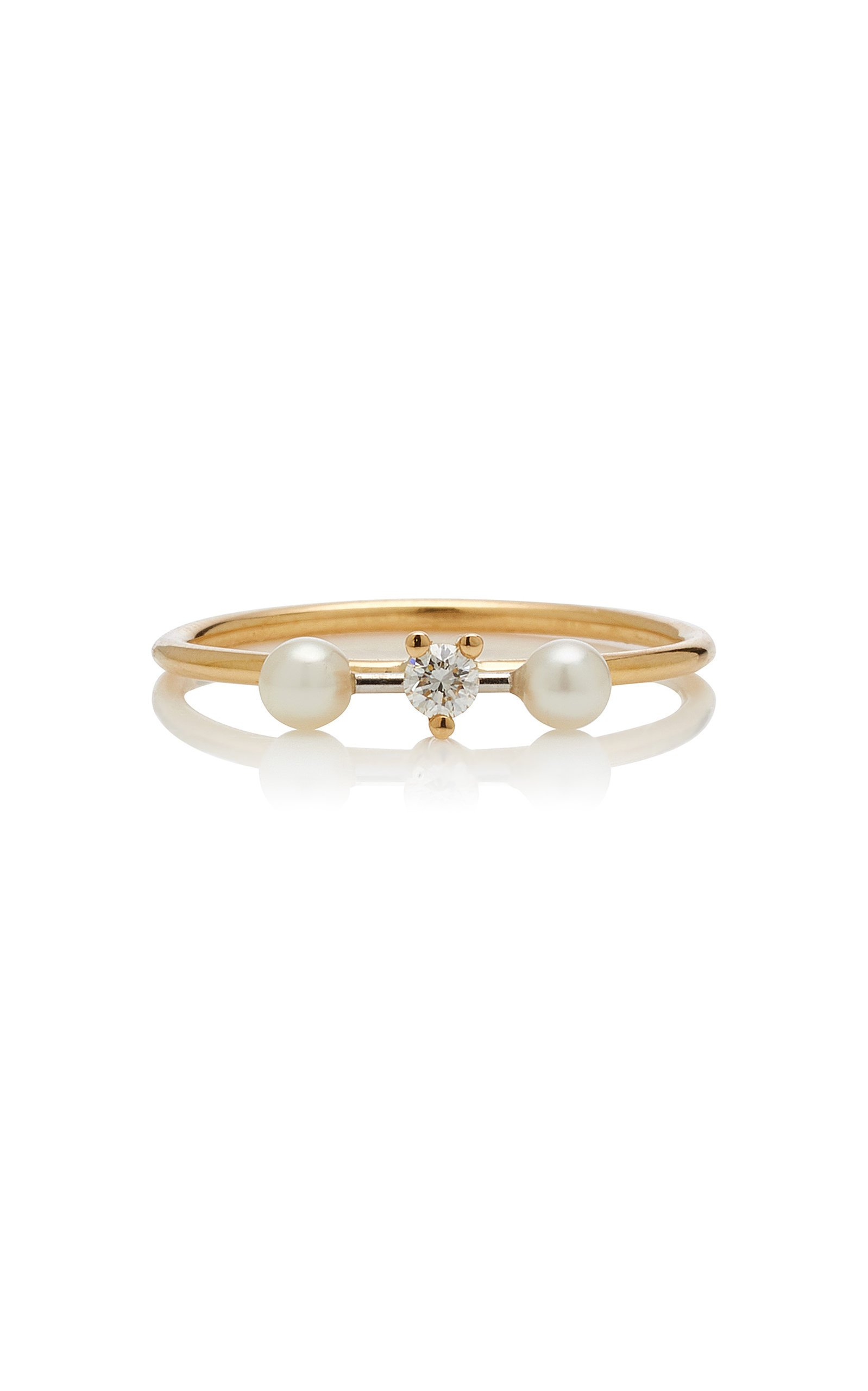 Delfina Delettrez Two-In-One 18K Gold Diamond and Pearl Ring