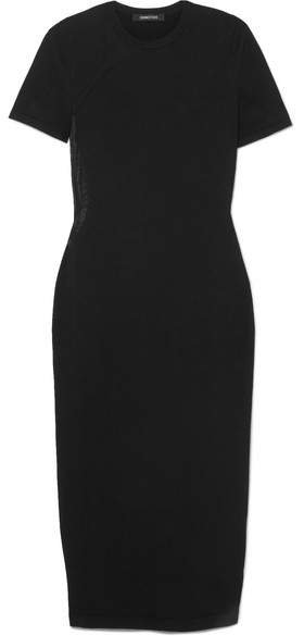 Mesh-paneled Stretch-jersey Midi Dress - Black