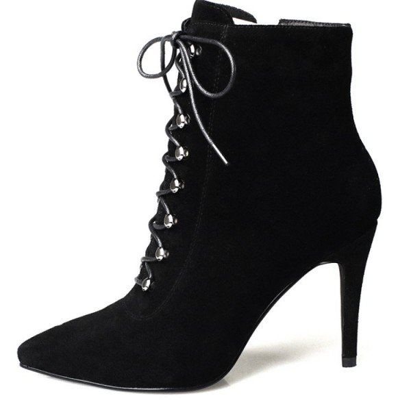 Black Lace up Boots Pointy Toe Suede Stiletto Heel Booties for Work for Work, Anniversary | FSJ