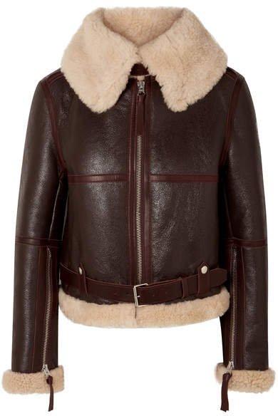 Shearling Aviator Jacket - Beige