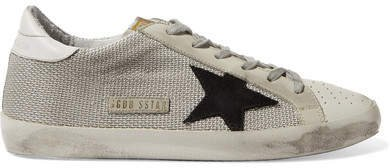 Super Star Mesh And Distressed Leather Sneakers - Gray