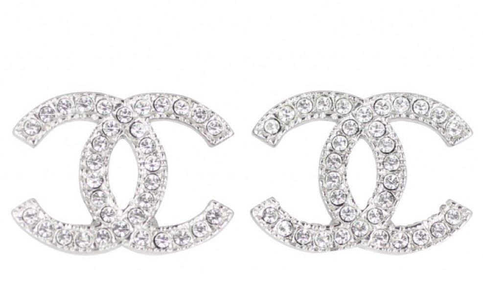silver Chanel earrings