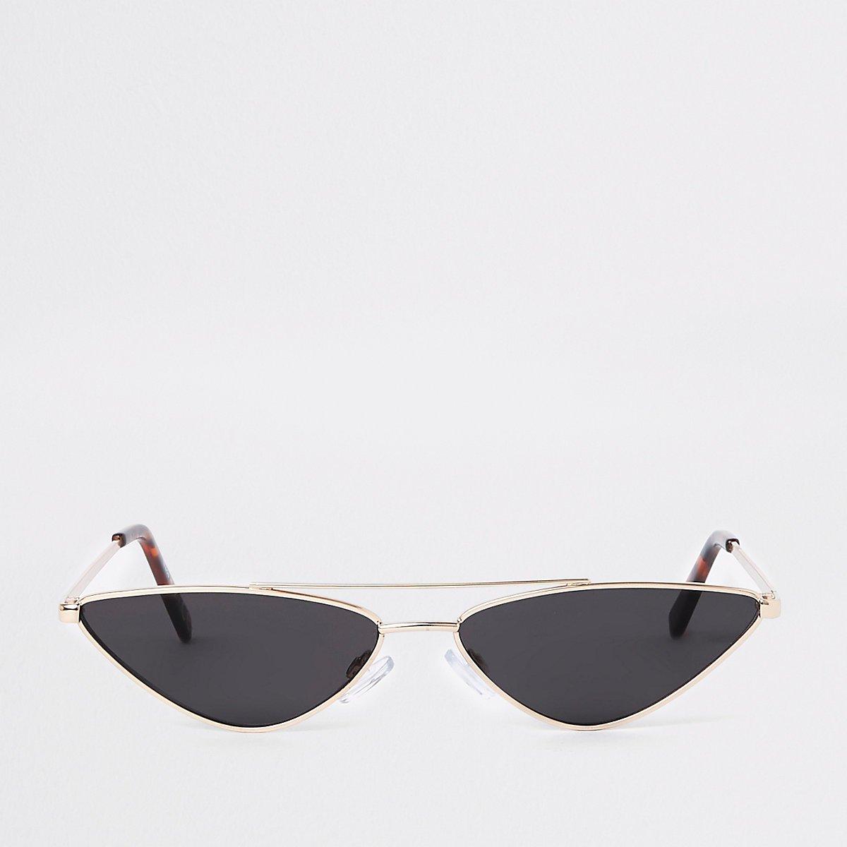 Gold metal frame slim sunglasses - Cat Eye Sunglasses - Sunglasses - women