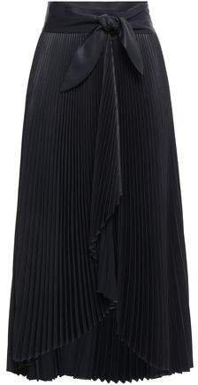 Eleanor Plisse-satin Midi Wrap Skirt