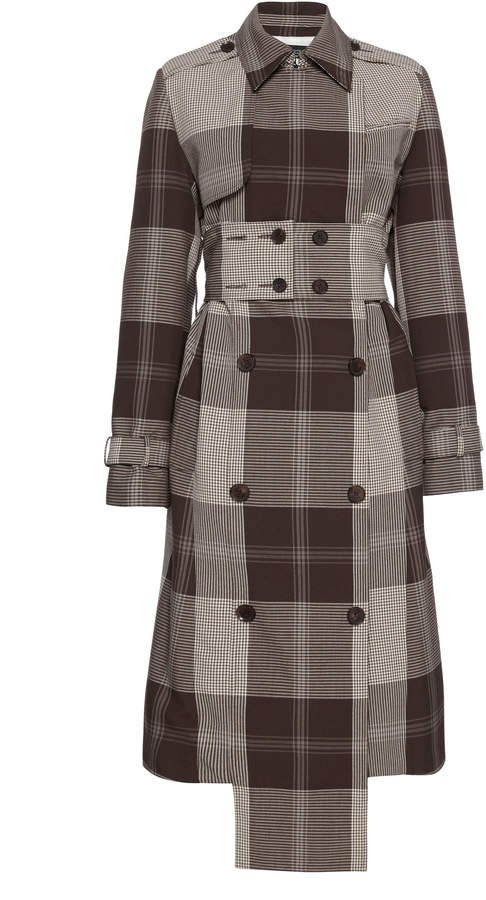 Rokh Belted Gingham Trench Coat Size: 34