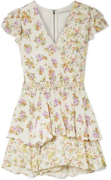 Alice Olivia - Mariska Ruffled Floral-print Voile Playsuit - Cream