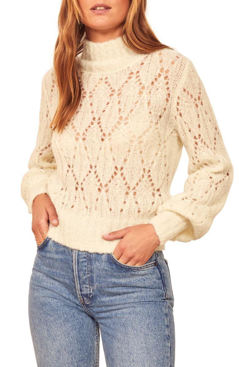 Reformation Pointelle Turtleneck Sweater | Nordstrom