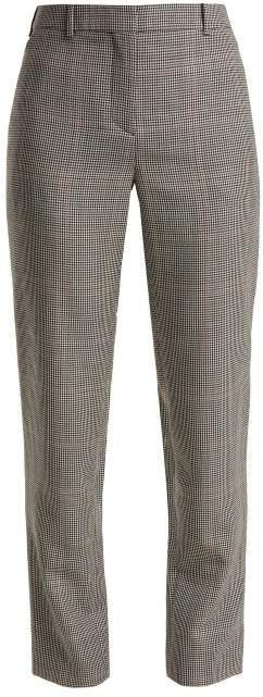 Houndstooth Wool Blend Trousers - Womens - Black White