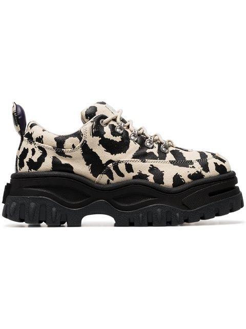 Eytys Cream Angel Leopard Print Chunky Canvas Sneakers - Farfetch