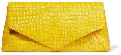 Glossed Croc-effect Leather Clutch - Yellow