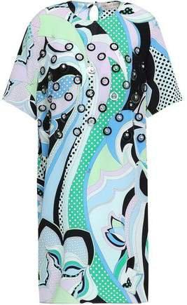 Embellished Printed Silk Crepe De Chine Dress