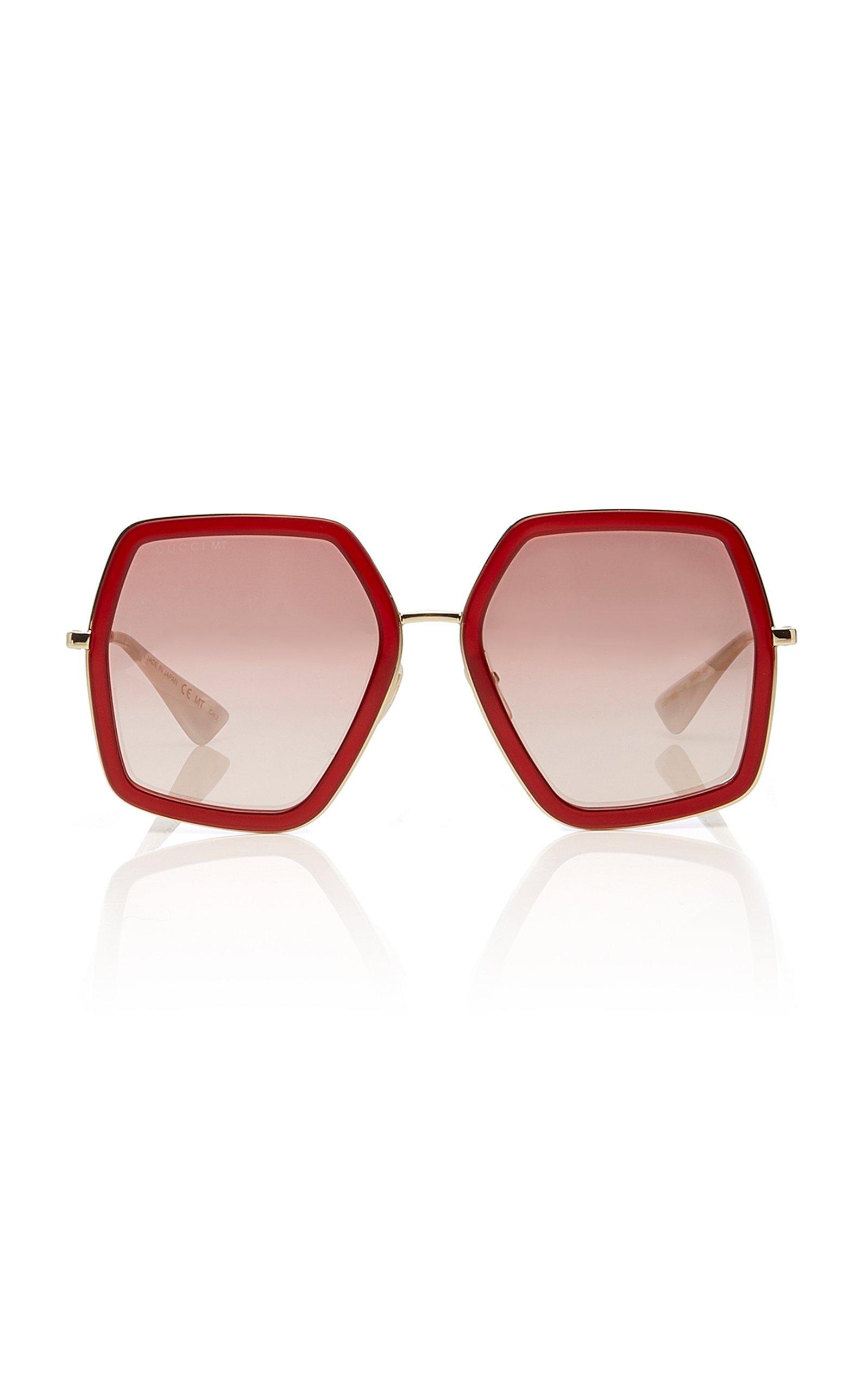 Hexagon-Frame Metal Sunglasses by Gucci Sunglasses | Moda Operandi