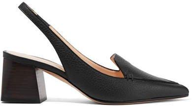 Beya Textured-leather Slingback Pumps - Black
