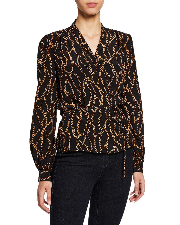 L'Agence Cara Chain-Print Silk Wrap Blouse | Neiman Marcus