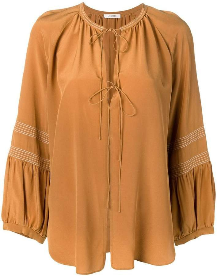 Dorothee long-sleeve flared blouse