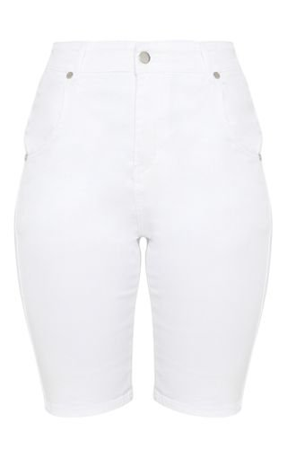 White Denim Cycling Shorts   Shorts   PrettyLittleThing