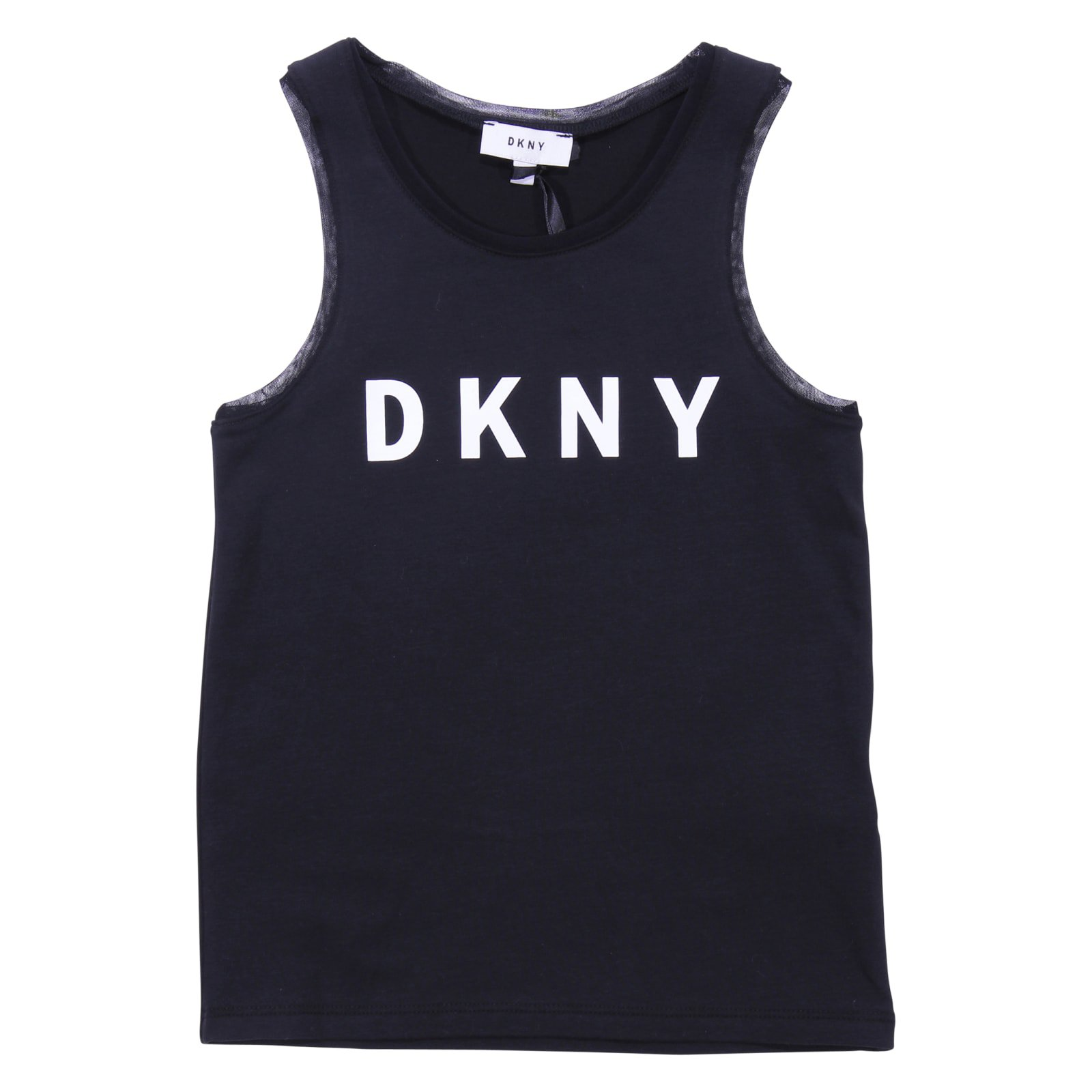 DKNY Black Cotton Jersey Logo Tank Top