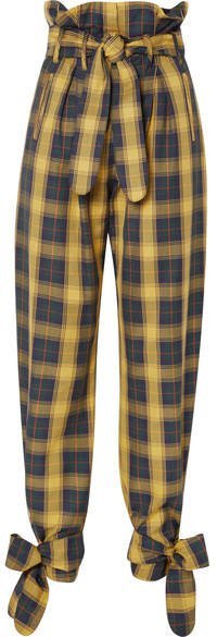 Tie-detailed Belted Checked Cotton-twill Straight-leg Pants - Yellow