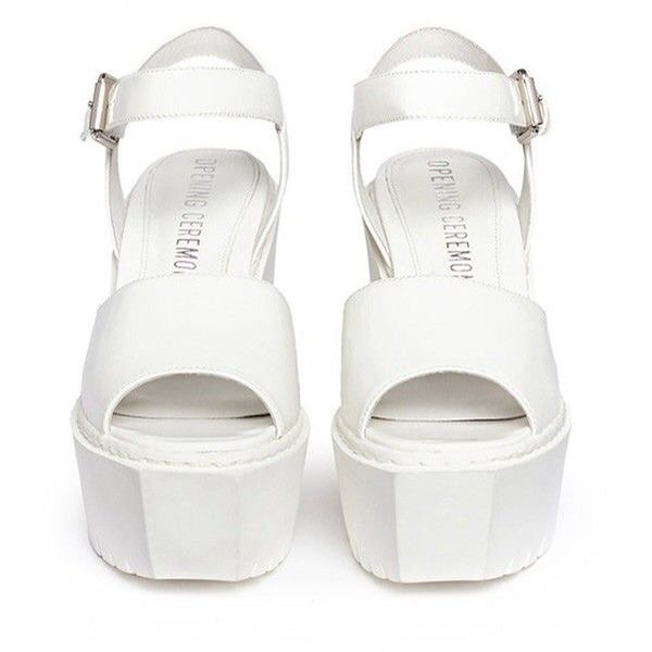 Opening Ceremony 'Grunge' gloss leather platform wedge sandals ($260)