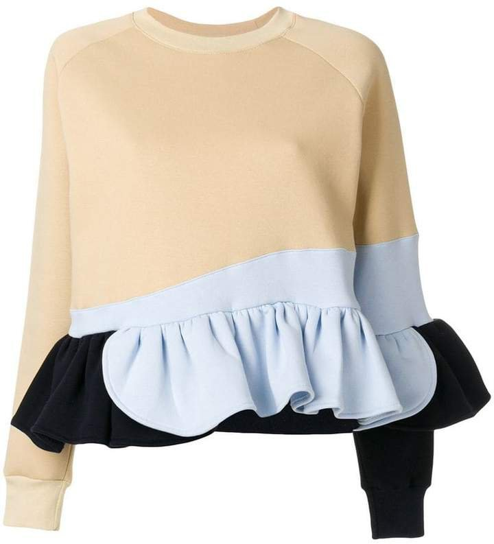Ioana Ciolacu frilled colour block sweatshirt